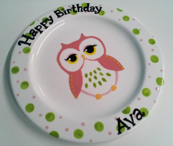 "Hand Painted Ceramic ""Owl"" Birthday Plate - 9"""