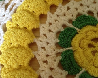 Vintage Green and Yellow Dollie Hand Crocheted
