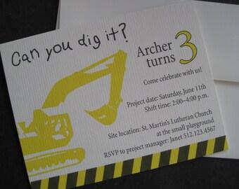 Construction Birthday Invitation-Printable