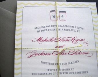 Country Chic Wedding Invitations with Mason Jars-Printable