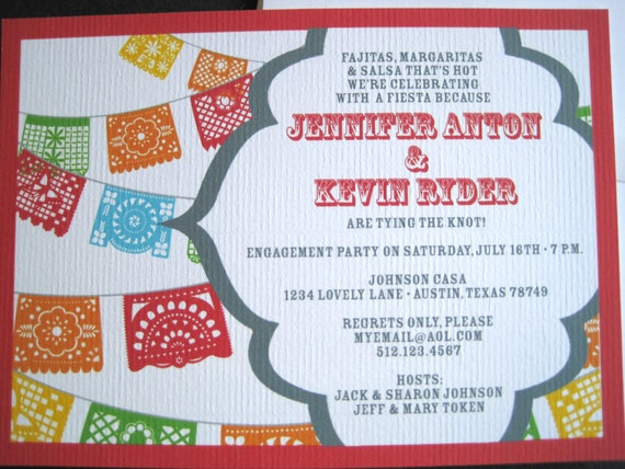 fiesta invitations with papel picado banner