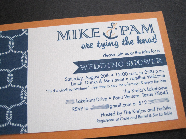 Wedding Shower Invitation: Nautical Wedding Shower Invitation-Printable
