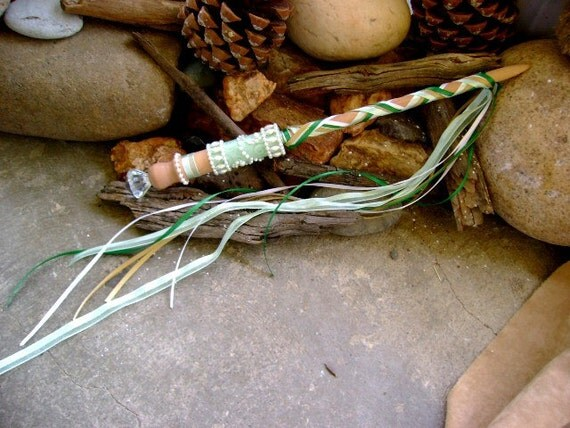 Elegant Fairy Princess Magic Wand in Sage Green with Pearl Trim