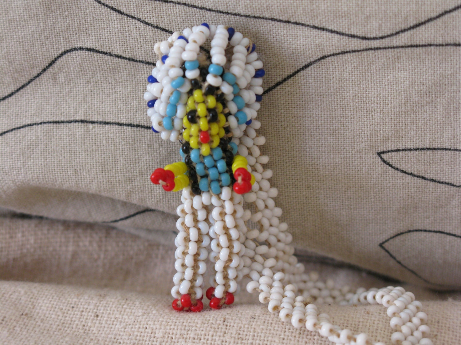 indian beaded doll necklace white