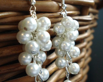 Melisa: Swarovski Pearl Earrings, Dangle Chunky Descending Earrings, Cluster Earrings, Bridal Earrings, Bridesmaid Earrings