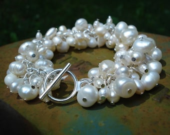 Paige: Ivory Real Freshwater Pearl Chunky Bracelet