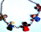 Children Charm Necklace Polymer Clay Back to School