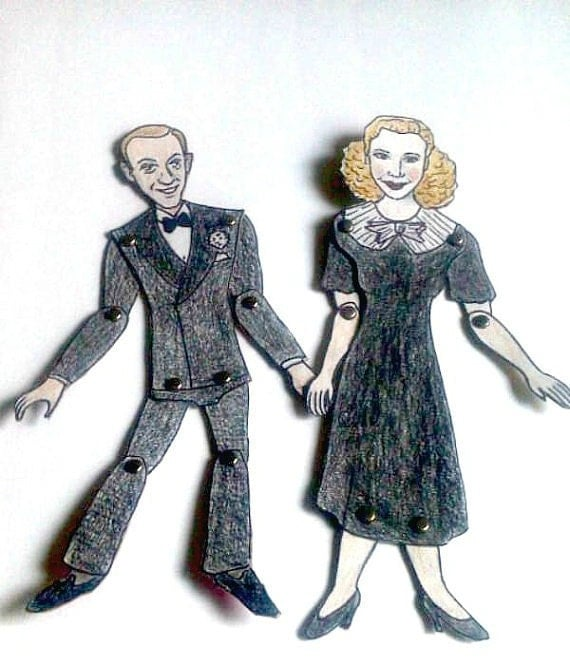 Fred Astaire and Ginger Rogers Paper Doll Set - Dance team 1930s Hollywood