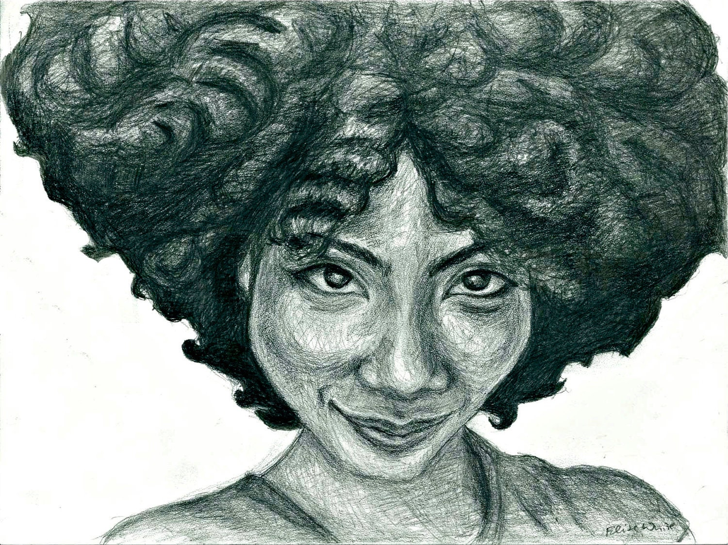 Afro Woman Drawing