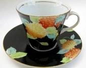 Dramatic Art Deco Vintage 30s China Teacup - Black Orange Hand-Painted Japanese Bold Dark Floral Hydrangea Tea Party Porcelain Cup Gatsby