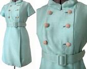 Aquamarine Dream Vintage Coat Dress - Mod Mint Double Breasted Pastel Raw Silk 50s 60s Sleek Mini Easter Dress Midcentury Mad Men A-Line