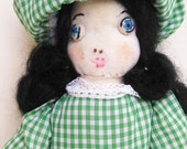 Vintage Handmade Waldorf Cloth Rag Doll Folk Art - Sweet Rustic Cute Hand Sewn Country Character Girl Toy Primitive Quirky Embroidered Face