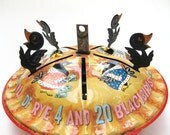 """Vintage 60s Mattel Tin Litho """"Music Maker"""" Blackbird Pie Toy - Sing A Song of Sixpence Wind Up Music Box Jack In The Box Pop Up Mechanical"""