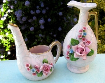 Vintage 50s Lefton Pink Spaghetti Floral China - Vanity Dresser Set Pitcher Vase Boudoir Girl Pretty Porcelain Flowers Dolly Pastel Rose