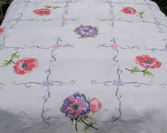Purple Poppies Embroidered Vintage Linen Tablecloth - Poppy Red Pink Violet Floral Flower Handmade Stitchery Cross Stitch Folk Boho Decor