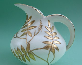 Vintage 30s Art Deco Gold Fern Leaf Pottery Bewley Ware Pitcher Jug - Cream Gilt Enamel Foliage Nature Forest Classical Round Elegant Gatsby