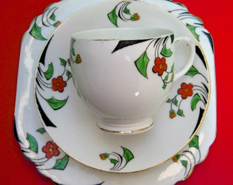 Art Deco Heathcote China Teacup Trio - Vintage 30s Hand Painted HP Porcelain Tea Cup Saucer & Sandwich Plate Cherry Red Daisies Great Gatsby