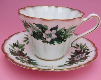 Christmas Rose Vintage China Teacup by Royal Stafford - Christmas China Cup Saucer Holiday Tea Party Winter White Snowdrop Poinsettia Flower