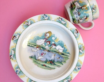 Sweet Antique 30s Duck Baby Plate & Mug Set Vintage Child - Wade Quack Quacks Quirky Baby Gift Cartoon China Transferware Bowl Cup Art Deco