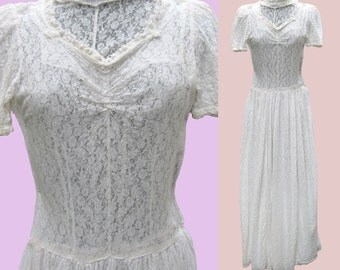 Romantic Vintage 30s White Lace Wedding Dress - Great Gatsby Delicate Sheer Spring Summer Casual Boho Bridal Antique Long Maxi Gown XXS XS S