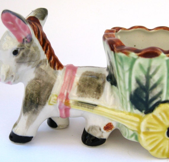 Funky Donkey - Vintage 50s Mid Century Japan Figural Planter - Pony with Flower Cart - Silly Cute Funny Quirky Whimsical Horse Figurine Pot
