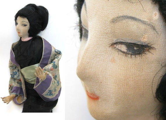 Stunning Antique Asian Silk Boudoir Doll - Unusual Japanese Geisha 1920s Rare Vamp Art Deco Vintage Character Bed Doll Exotic Oriental Lady