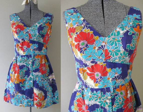 Tropical Twiggy Vintage 60s 70s Mod Mini Dress - Bright Bold Boho Colorful Wild Neon Psychedelic Floral Short A-Line Beach Hippie Small S