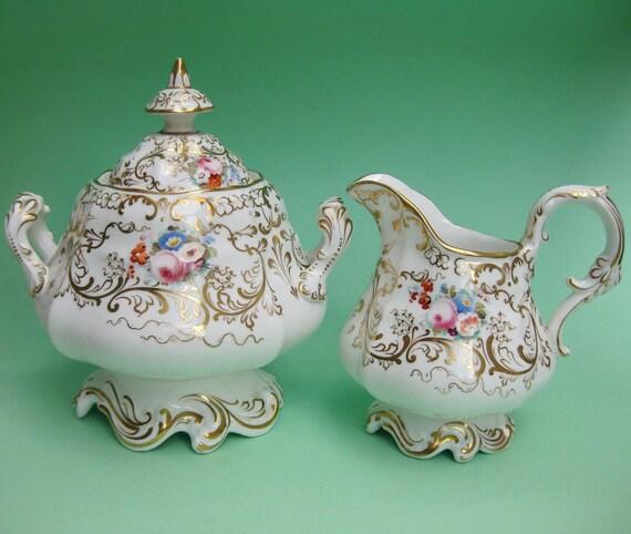 Royal Antique Fine Tea China Cream & Sugar Bowl Set - Victorian Rococo Dresden Wedding Sucrier Milk Pitcher Fancy Staffordshire Creamer