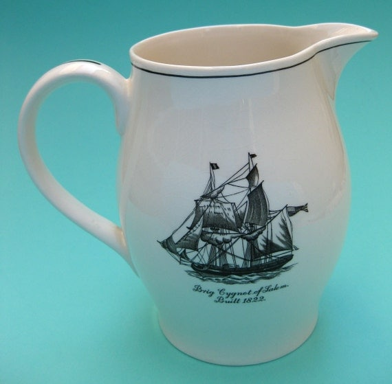 Vintage Copeland Spode Sailing Ships Pitcher -  Nautical Transferware China Porcelain Jug - Milk Juice Water Beer - Sailboat Tall Ship Boat
