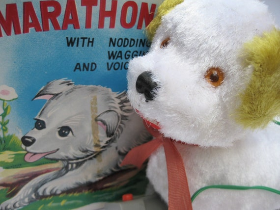Marathon Puppy in Original Box - Vintage Battery Operated Remote Control Toy Dog - St Bernard Funny Funky Silly Japanese Mid Century Novelty