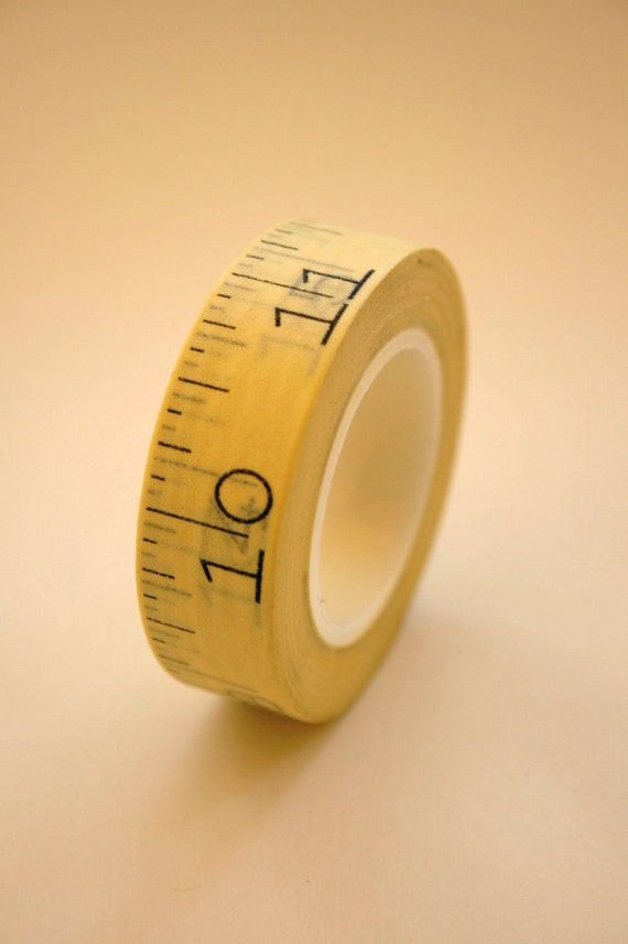 Washi Tape - Yellow Measuring Tape Design with Black Numbers