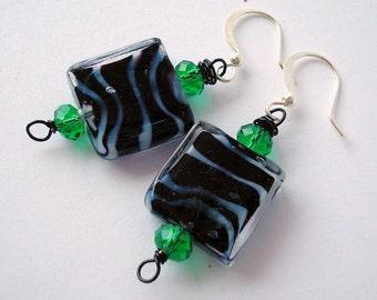 Green Zebra Earrings, Zebra Jewelry, Animal Print, Black and White Earrings, Green Earrings, Gift for Her, Glass Earrings, Drop Earrings