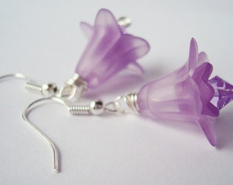 Floral Earrings, Purple Earrings, Flower Earrings, Lucite Earrings, Floral Jewelry, Lily Earrings, Sale Jewelry, Clearance Earrings, Sale