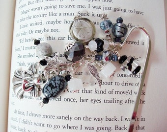 Angel Bookmark, Book Lover, Book Club, Black Bookmark, Beaded Bookmark, Angel Wings, Black and Silver, Gift for Her, Silver Bookmark, Angels