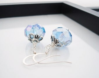 Light Blue Earrings, Blue Earrings, Sky Blue Earrings, Glass Earrings, Crystal Earrings, Crystal Jewelry, Simple Earrings, Something Blue