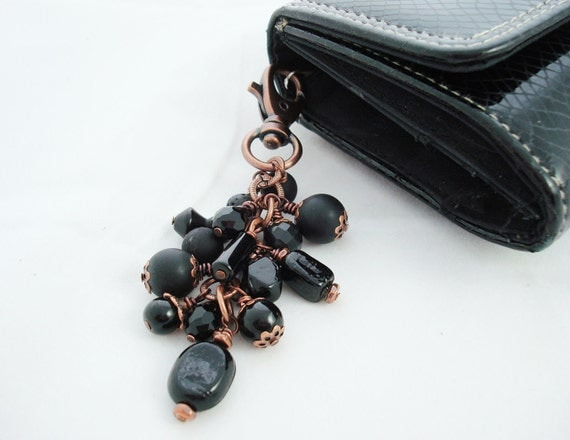 Purse Charm, Black and Copper Beaded, Free Shipping