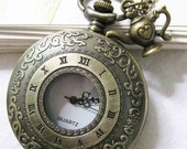 ancient rome Pocket watch Locket Necklace (with a little teapot)