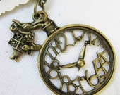 rabbit and clock from Alice in wonderland necklace