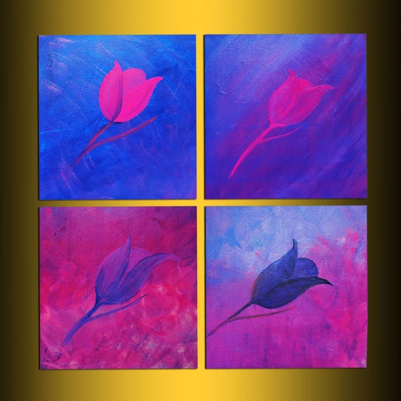Original painting Abstract contemporary Art x-large free shipping flower acrylic 4pc stretched canvas