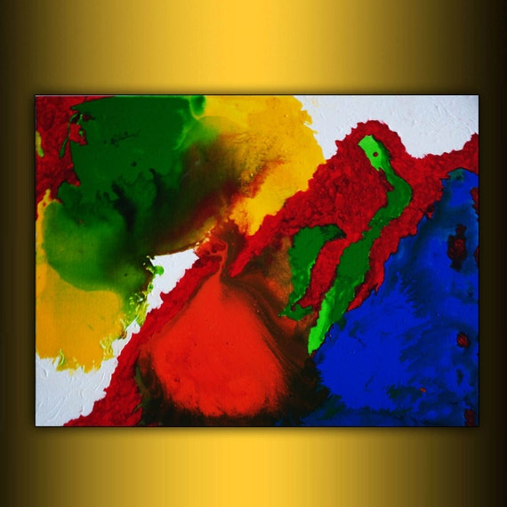 ORIGINAL large Abstract Art on canvas Ready to hang free shipping acrylic rainbow fine art 18x24