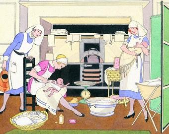 Nursery, Nursery Decor, Nursery Wall Art, Babies and Nurses, Loving Care, 1920s Print