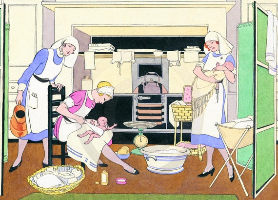 Nursery, Nursery Decor, Nursery Wall Art, Babies and Nurses, Loving Care, 1920s Print