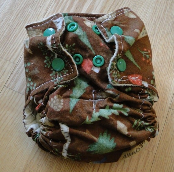 Let's Go Camping Cotton Flannel Fitted Cloth Diaper with Snaps Small