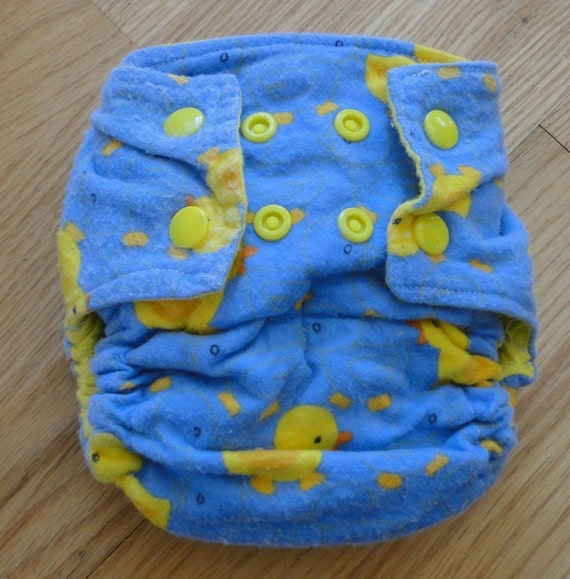 Ducky Cotton Flannel Fitted Cloth Diaper with Snaps Small