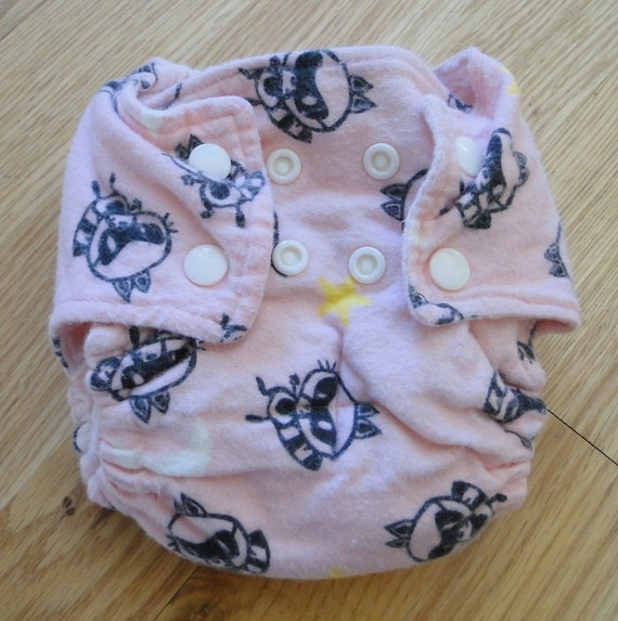 Pink Raccoon Cotton Flannel Fitted Cloth Diaper with Snaps Small