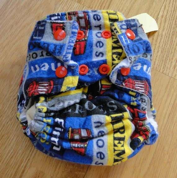 Fireman Cotton Flannel Fitted Cloth Diaper with Snaps Small