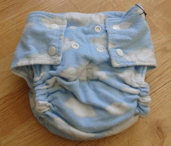 Fluffy Clouds Cotton Flannel Fitted Cloth Diaper with Snaps Large