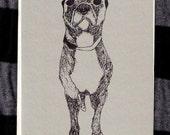 Bad Little Dog gocco printed notecard