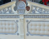 Painted French Bedroom Set Headboard Dresser Mirror Gray White Distressed CUSTOM ORDER ONLY