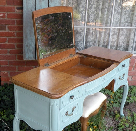 French Provincial Vanity Desk Painted Soft Aqua Cottage Chic